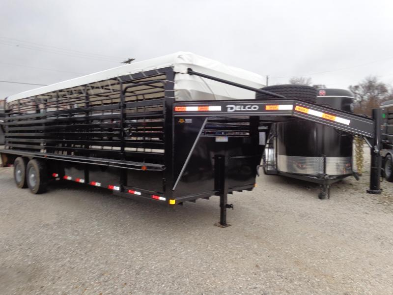 Delco 24' x 6'8 Gooseneck Powder Coated Black w/ White Tarp Stock Trailer