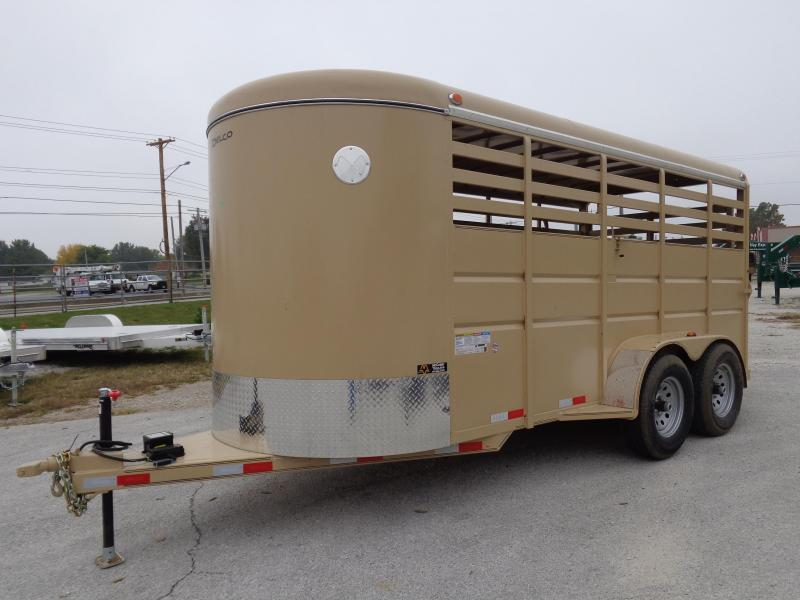 Delco 16' x 6' Tan Powder Coated Bumper Pull Livestock Trailer
