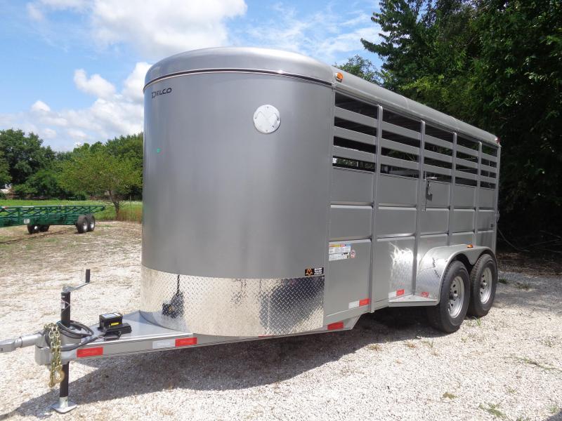 Delco 16' x 6' Silver Powder Coated Bumper Pull Livestock Trailer