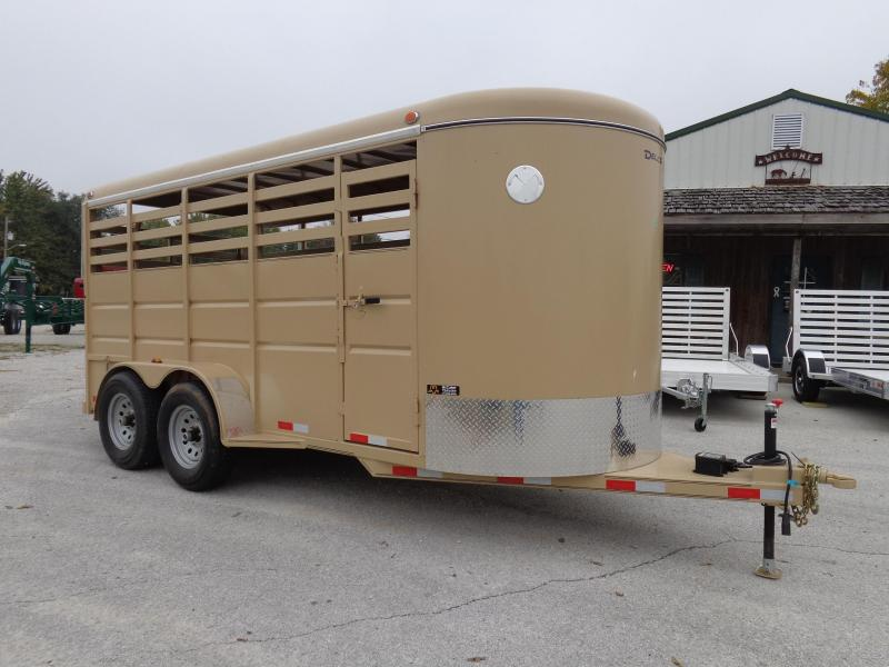 Delco 16' x 6' Tan Powder Coated Bumper Pull Stock Trailer
