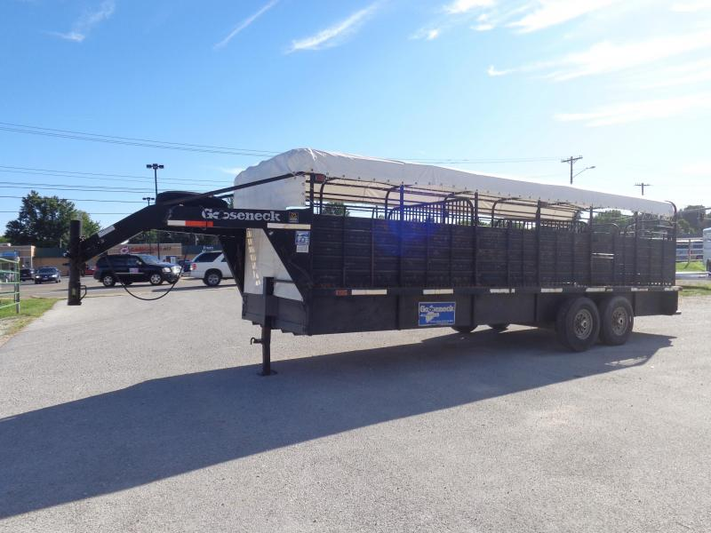 "USED 2005 Gooseneck 24'x6'8"" Gooseneck Brand Black with White Tarp Top Livestock Trailer"