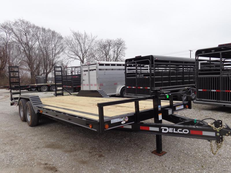 """Delco 102""""x20'+2' Dovetail Bumper Pull 14000# Flatbed Trailer"""