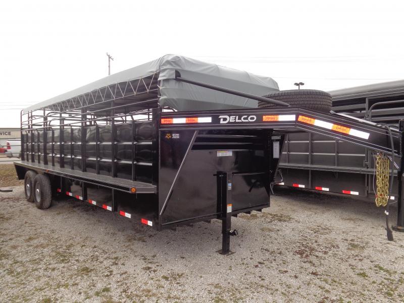 Delco 24' x 6'8 Powder Coated Black w/ Light Gray Tarp  Gooseneck Stock Trailer