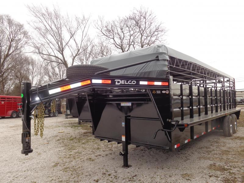 Delco 24' x 6'8 Powder Coated Black w/ Light Gray Tarp  Gooseneck Stock Trailer
