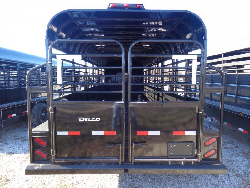 Delco 24' x 6'8 Premium Metal Top Powder Coated Black Gooseneck Stock Trailer with Butterfly Slam Latch Tail Gate