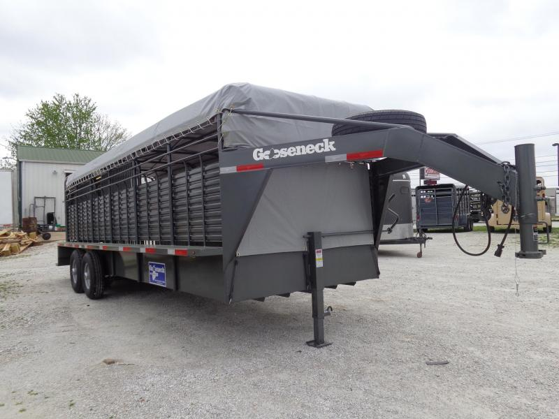 Gooseneck Brand 24' x 6'8 Gooseneck Gray Metallic with Light Gray Tarp Livestock Trailer