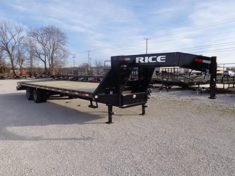 "Rice 102""x25'+5' Gooseneck 22000# Deckover w/ 2 Fold Over Ramps & Center Pop-Up"