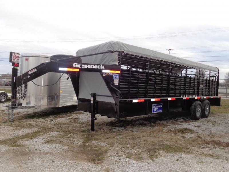 Gooseneck Brand 24' x 6'8 Gooseneck Black with Light Gray Tarp Livestock Trailer
