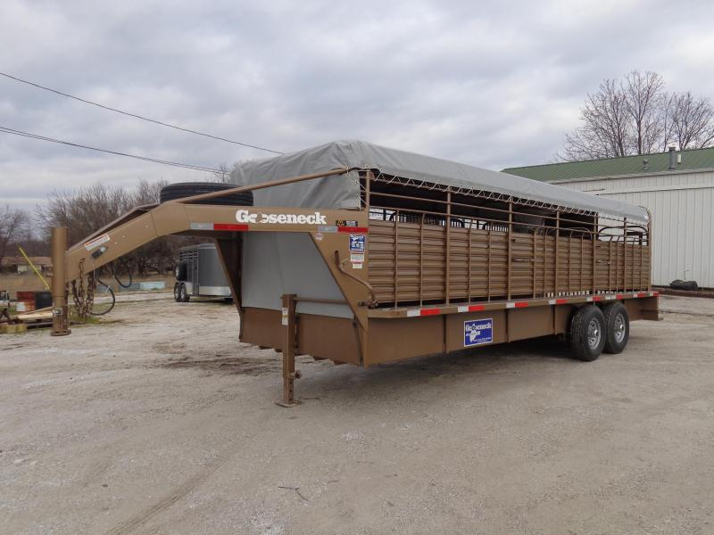 Gooseneck Brand 24' x 6'8 Gooseneck Light Autumn Metallic with Light Gray Tarp Livestock Trailer