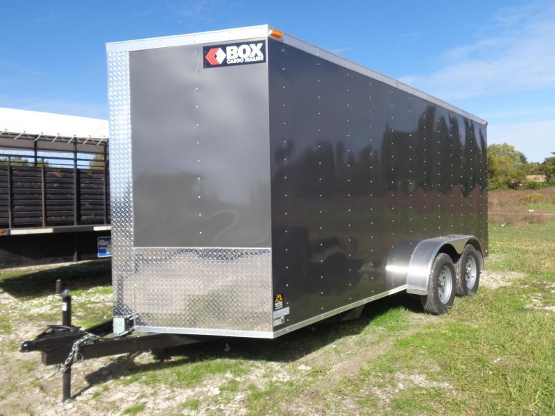 Box Cargo 7'x16' Charcoal Gray Bumper Pull Enclosed Cargo Trailer