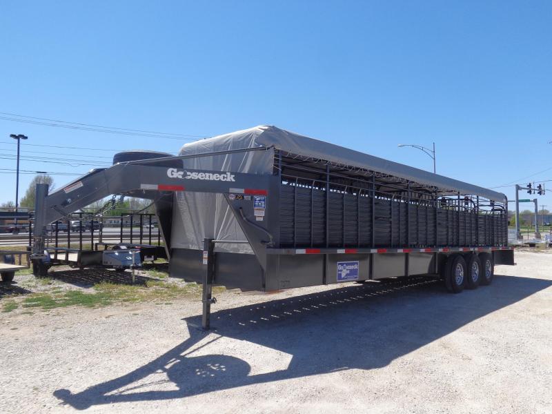 Gooseneck Brand 32' x 6'8 Dark Gray with Light Gray Tarp Gooseneck Livestock Trailer