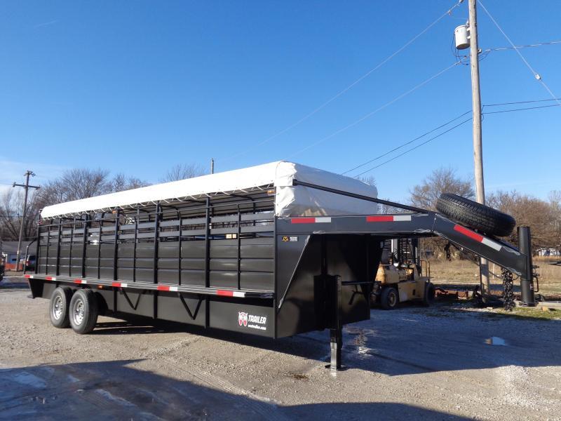 W-W 24 x 6'8 Roustabout Gooseneck Dark Shadow Gray w/ White Tarp Livestock Trailer