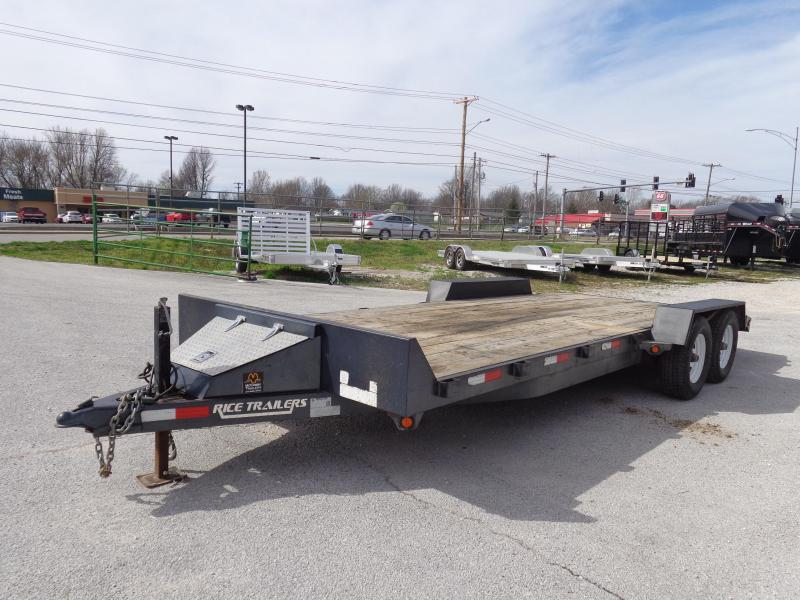 USED 2014 Rice 82 x 18'+2' 9900# Upgraded Car Hauler Bumper Pull Flatbed Trailer