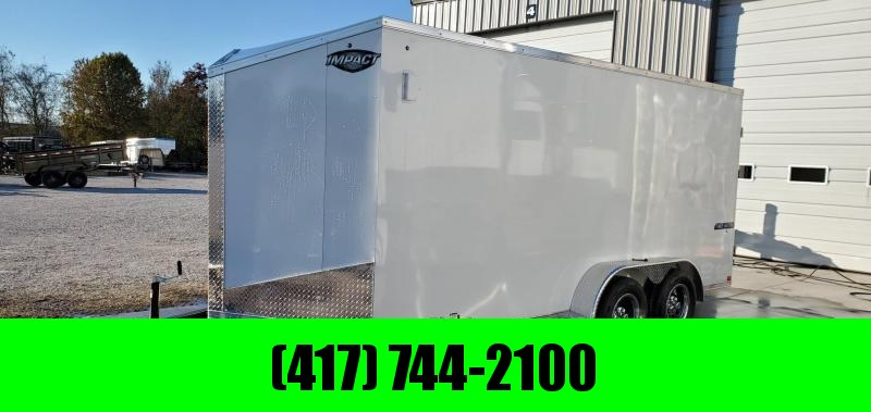 "2020 Impact 7X16 TANDEM 7K WHITE CARGO W/ 6'6"" HEIGHT"