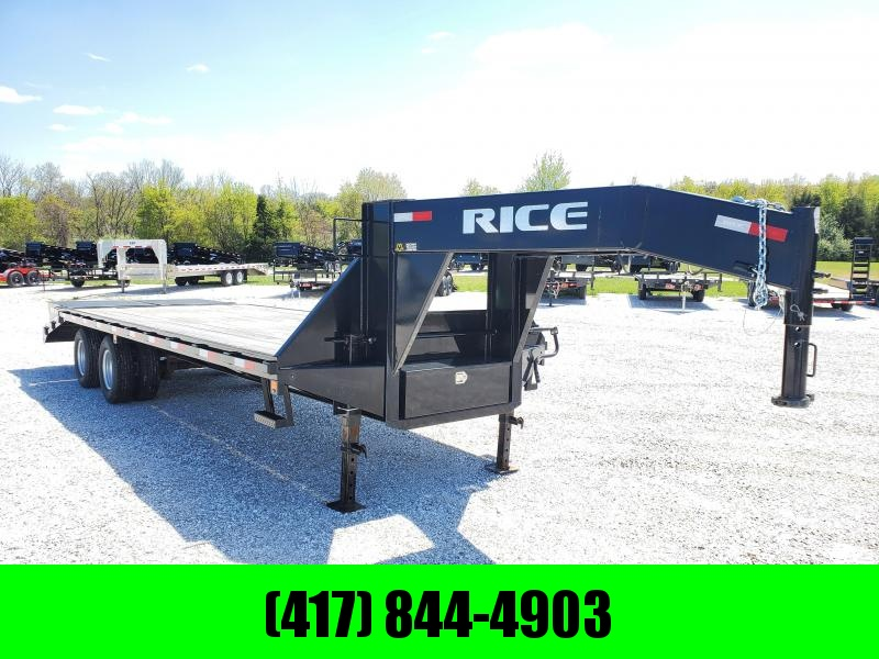 2018 RICE 102 X 25 TANDEM BLACK GOOSENECK W/MAX RAMPS