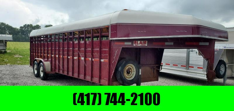 "1994 24'X6'8""X6'6"" BLAIR 14K GOOSENECK STOCK TRAILER W/GOOSENECK STORAGE FIBERGLASS TOP & NEW 14 PLY TIRES"