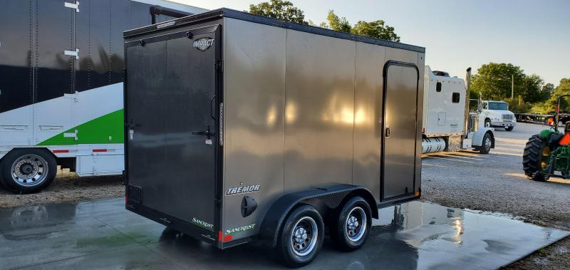 2020 Impact 7x12 TANDEM 7K BLACK OUT CHARCOAL CARGO W/7' HEIGHT & RAMP DOOR