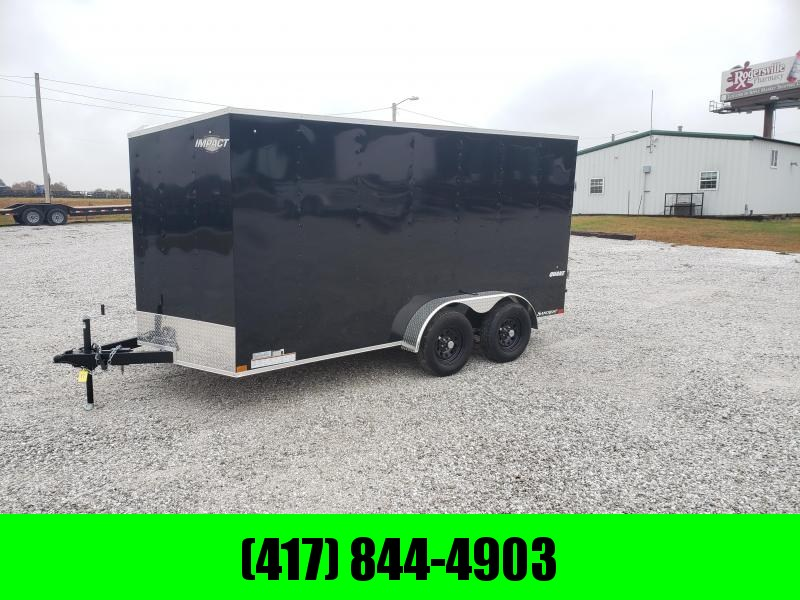 "2020 Impact 7X14 TANDEM 7K BLACK CARGO W/6'6"" HEIGHT"