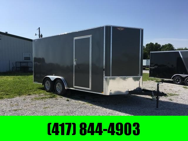 2020 H&H 8X16 TANDEM 10K CHARCOAL METALLIC  CARGO W/ 7' HEIGHT & ALUMINUM WHEELS