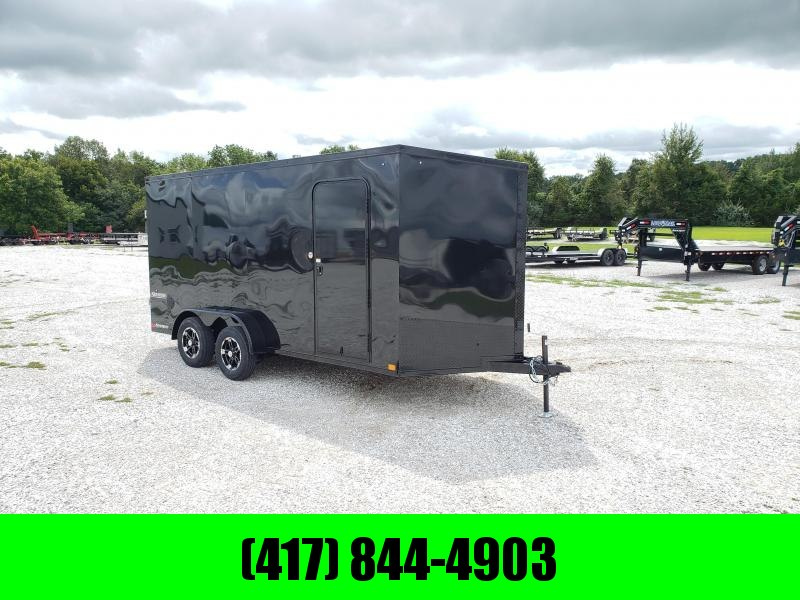 2020 IMPACT 7X16 TANDEM 7K BLACKED OUT CARGO W/ 7' HEIGHT & ALUMINUM WHEELS