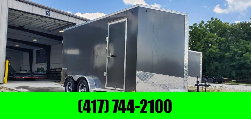 2020 IMPACT 7X14 TANDEM 7K CHARCOAL SLANT NOSE CARGO W/ 7' HEIGHT