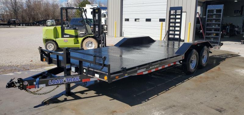 2020 Load Trail 102X20 TANDEM 14K CAR/EQIPMENT HAULER W/ STEEL FLOOR DRIVEOVER FENDERS & HD EQUIPMENT STAND UP RAMPS