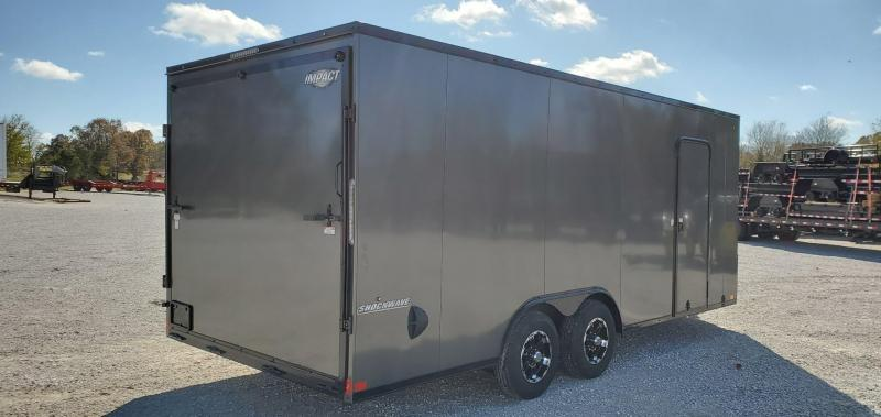 2020 IMPACT 8.5X20 TANDEM 10K CHARCOAL SHOCKWAVE CARGO W/BLACK OUT PACKAGE 7' HEIGHT & ALUMINUM WHEELS
