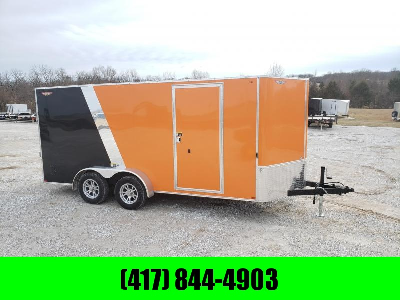 2020 H & H TRAILERS 7X16 TANDEM FLAT TOP HH VNOSE 7K CARGO(ORANGE\ BLACK)