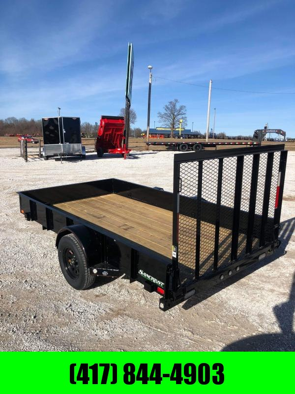 """2020 MAXXD 77X12 SINGLE 3.5K PIPE TOP UTILITY W/4"""" CHANNEL TONGUE & 4' SPRING GATE, SOLID SIDES"""