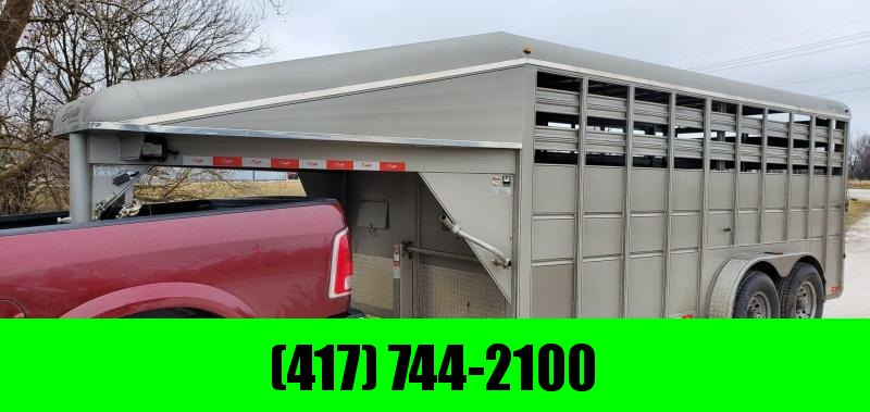 "2015 Delta 6'8""X6'6""X16' GOOSENECK STOCK TRAILER W/7K AXLES & RUBBER FLOOR"