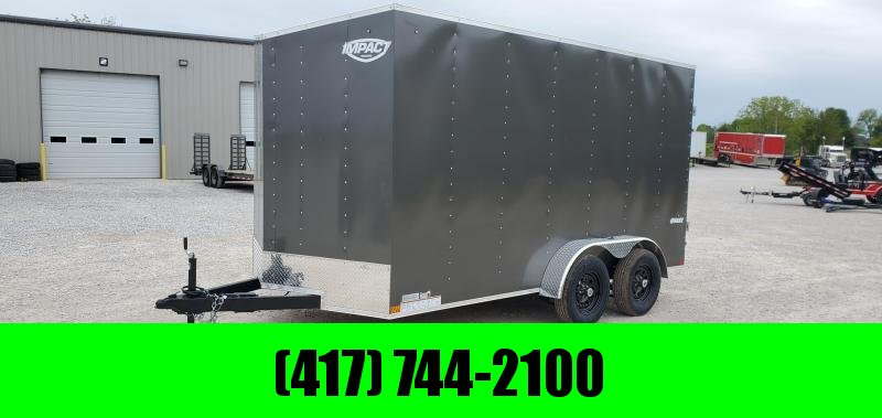 2021 Impact 7X14 TANDEM 7K CHARCOAL QUAKE CARGO W/7' HEIGHT