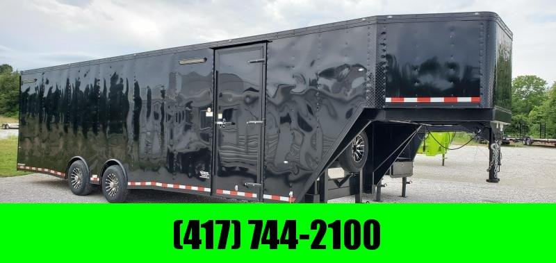 "2019 102X36(28+8) TANDEM 14K BLACKED OUT GOOSENECK CARGO W/7.5FT HEIGHT 48"" SPREAD OVER FENDER DOOR"