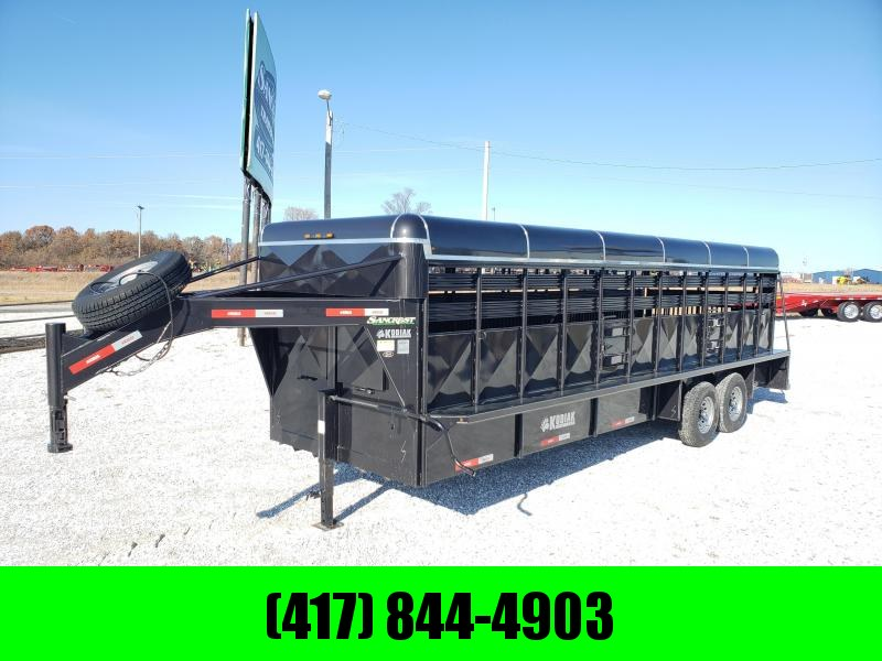 "2019 Kodiak 24X6'8"" BRUSHFENDER GOOSENECK Livestock Trailer W/7K AXLES"