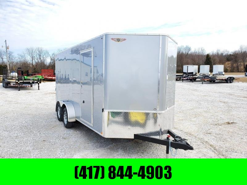 2020 H&H 7X16 TANDEM 7K SILVER CARGO W/ 7' HEIGHT & ALUMINUM WHEELS