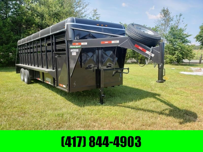 "2019 Kodiak 6'8""X24' METALLIC BLACK Livestock TrailerW/FRONT  VENTS 2 CUT GATES SLIDER REAR GATE"