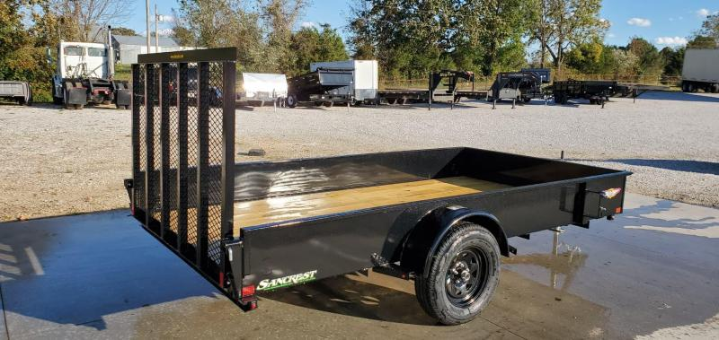 "2020 H&H 76X12 SINGLE 3.5K SOLID SIDE (15"" TALL) UTILITY W/4' TUBE GATE W/SPRINGS"