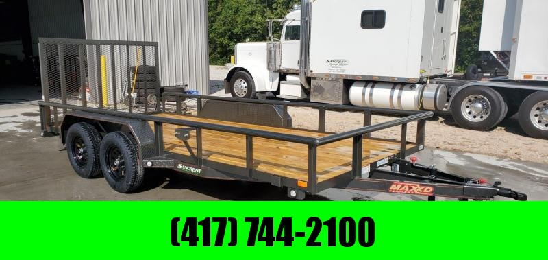 2020 MAXXD 83X16 TANDEM 7K METALLIC GRAY UTILITY W/ PIPE TOP RAILING & 4' SPRING GATE