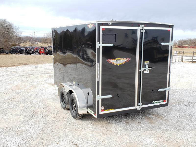 "2020 H&H TANDEM BLACK Enclosed   7X12 Cargo Trailer W/6'6"" HEIGHT"