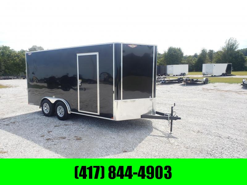 2020 H&H 8X16 TANDEM 10K BLACK CARGO W/ 7' HEIGHT & ALUMINUM WHEELS