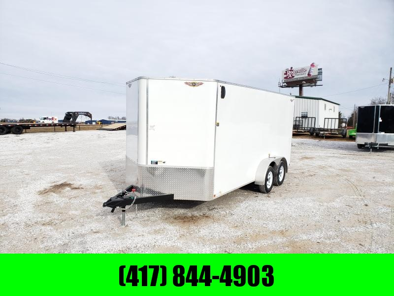 2020 H & H TRAILER 7X16 TANDEM FLAT TOP  V NOSE 7K CARGO (White)