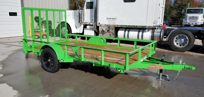 "2020 MAXXD 77X12 SINGLE 3.5K KAWASAKI GREEN UTILITY W/4"" CHANNEL TONGUE & 4' SPRING GATE"