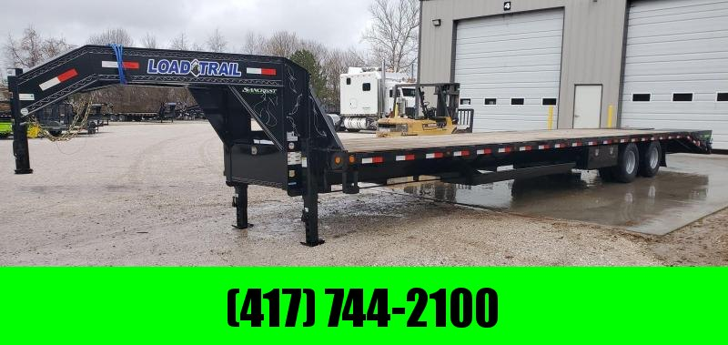 "2020 Load Trail 102x40 GOOSENECK W/12K DISC AXLES(48"" SPREAD) AIR RIDE 2 SPEED JACKS MAX RAMPS DUNNAGE RACK LOCKABLE CHAIN RACK ADJUSTABLE RATCHET RAIL 14PLY TIRES"