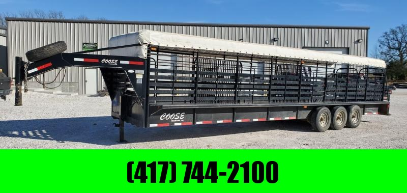 "2012 Coose 6'8""X32'X6'6"" TRIPLE 21K GOOSENECK TARP TOP STOCK TRAILER W/ 14PLY TIRES"