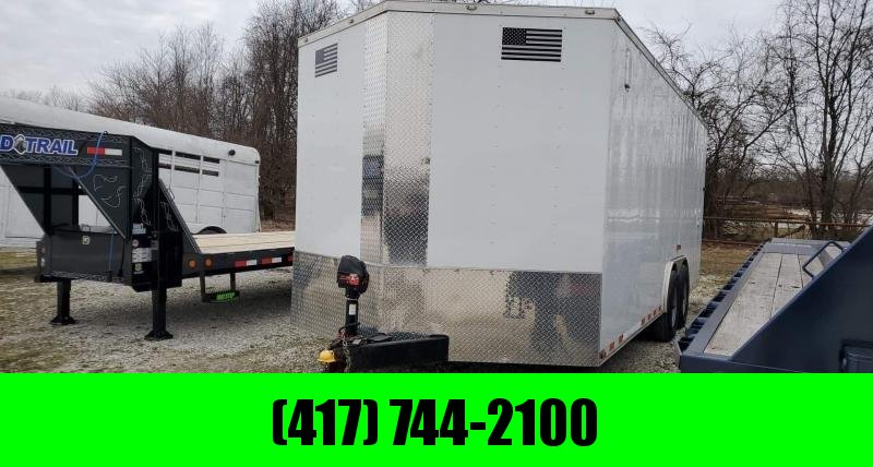"2017 Diamond Cargo 8.5X20 TANDEM 10K WHITE CARGO W/6'6"" HEIGHT ELECTRIC JACK INSULTED WALLS&ROOF TORSION AXLES 10PLY TIRES"