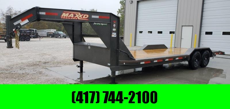 2020 MAXXD 102X24(22+2) TANDEM 14K GOOSENECK CAR/EQUIPMENT HAULER W/DRIVE OVER FENDERS & SLIDE IN RAMPS