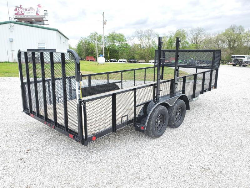"2020 Load Trail 83X18 TANDEM 7K UTILITY W/24"" MESH SIDES WEEDEATER RACK FRONT TOOL CAGE & 4' SPRING GATE"