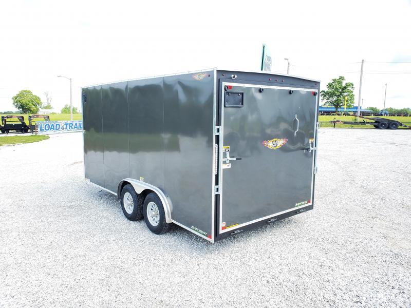 2020 H and H 8 X 16 TANDEM 10K  CHARCOAL METALLIC CARGO W/7' HEIGHT