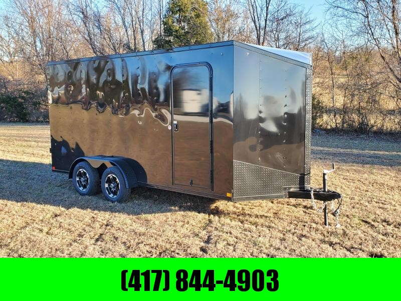 2021 Impact 7X16 TANDEM 7K BLACK TREMOR CARGO W/7' HEIGHT ALUMINUM WHEELS & BLACK OUT PACKAGE