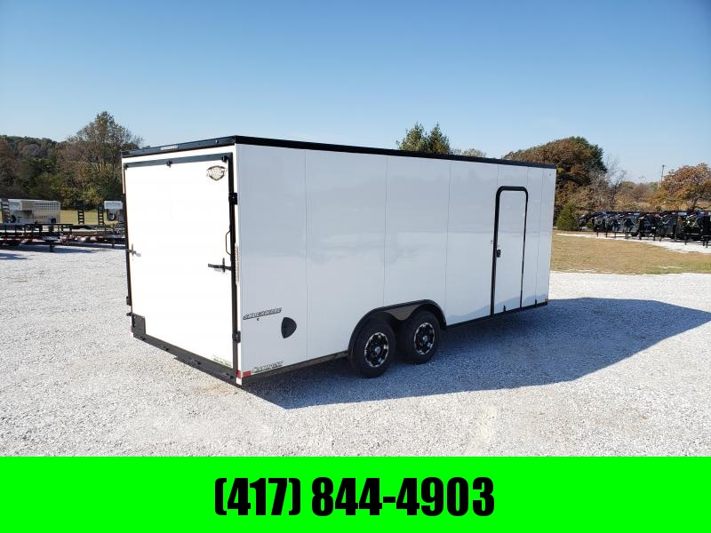 2020 IMPACT 8.5X20 TANDEM 10K WHITE SHOCKWAVE CARGO W/BLACK OUT PACKAGE 7' HEIGHT & ALUMINUM WHEELS