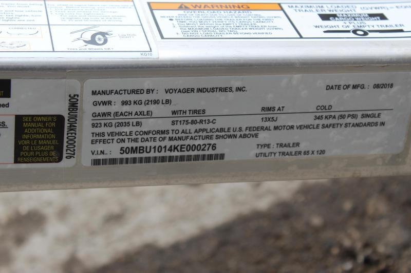 2019 Bear Track BTU65120 Utility Trailer